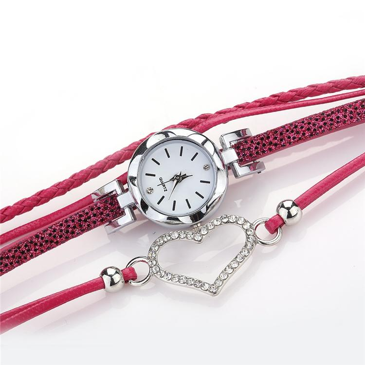 6 color ladies Love Heart watch Crystal bracelet leather watches small dial dress quartz wrist watches gift watch jewelry Wholesale ZJJ215
