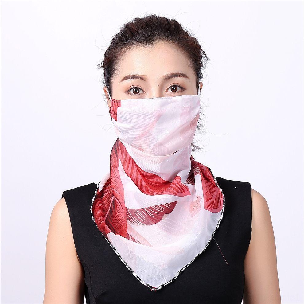Maschera EpSN6 Hot Mezza Veil faccia esterna sciarpa antivento Le donne devono affrontare antipolvere Parasole seta dello scialle Dust Mask Ear Tipo Partito