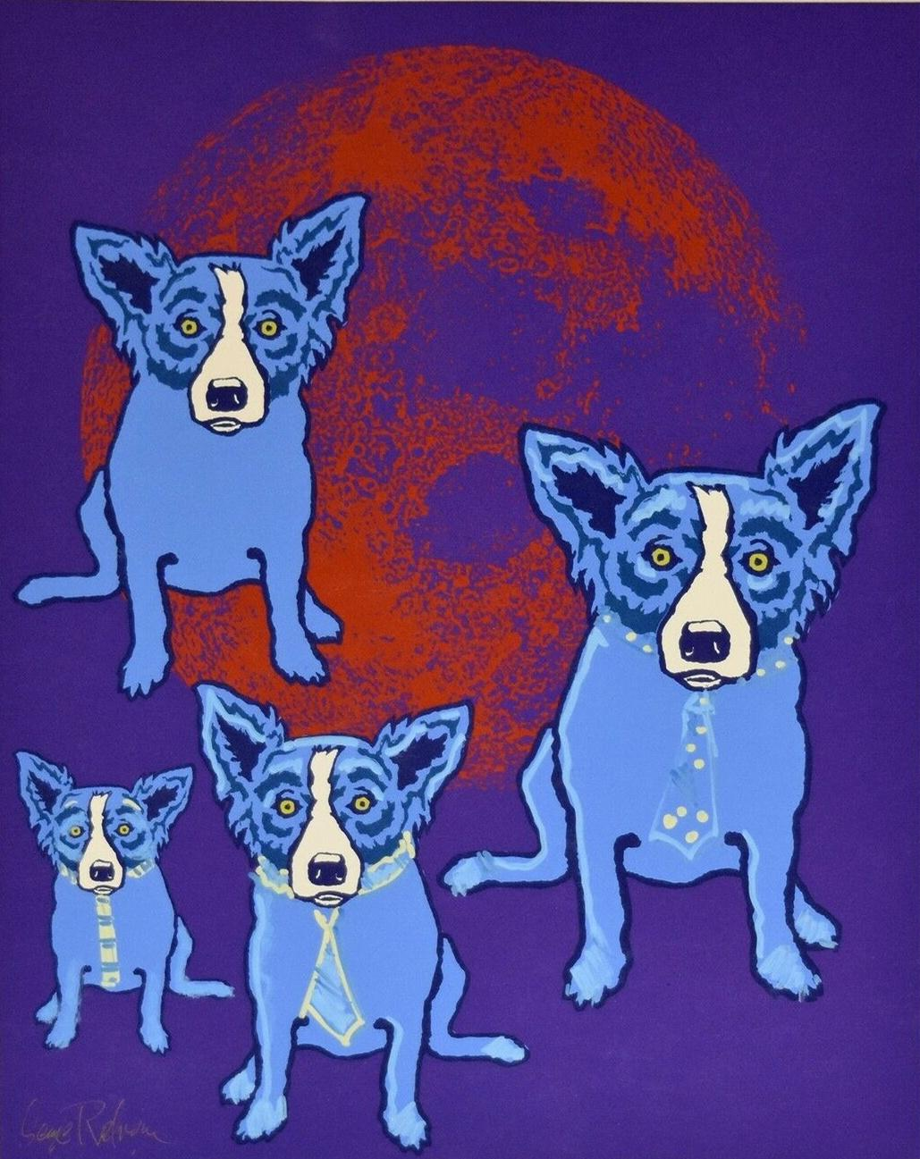 George Rodrigue Blue Dog Original Hand Embellished MM Red Moon Home Decor Handcrafts /HD Print Oil Painting On Canvas Wall Art 200113