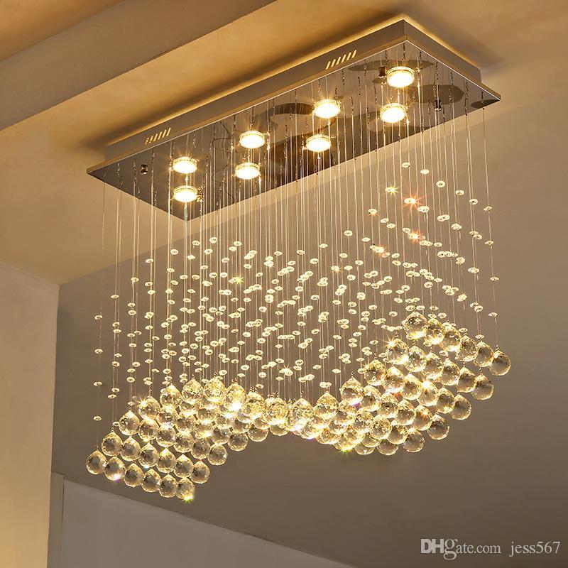 Dikdörtgen kristal lamba yemek odası kolye ışık bireysellik kısa lamba modern bar sayacı dikdörtgen kristal restoran