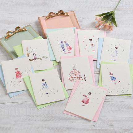 Eno Greeting watercolor girl cards mini gift cards children's day for girl small greeting birthday