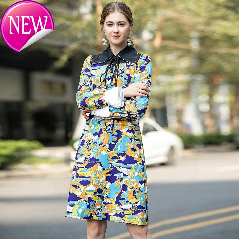 Супер качество печати абстрактный узор платье костюм-платье 2020 осень нагрудные повязки с длинным рукавом Разделить Joint талии юбка