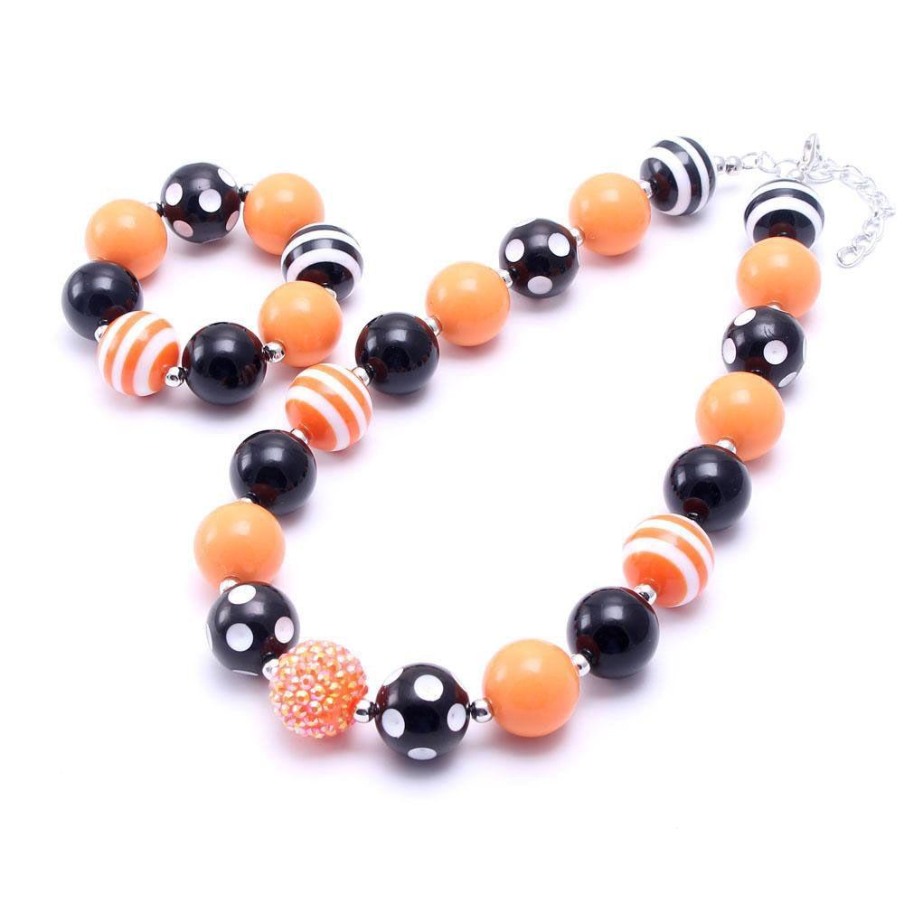 Orange+Black Color Kid Chunky Necklace&Bracelet Set Halloween Children Girl Toddler Bubblegum Chunky Bead Necklace Jewelry Set