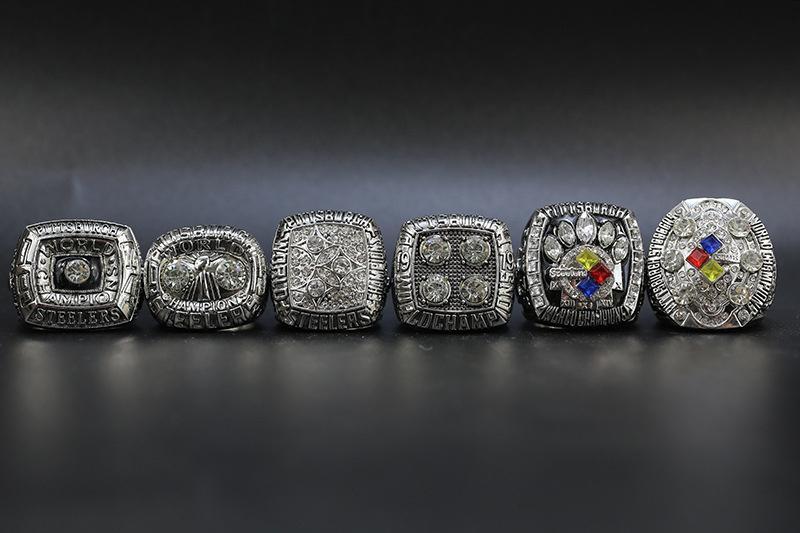 6pcs/set 1974 1975 1978 1979 2005 2008 Pittsburgh Football World Championship Ring Wholesale Free Shipping Silver