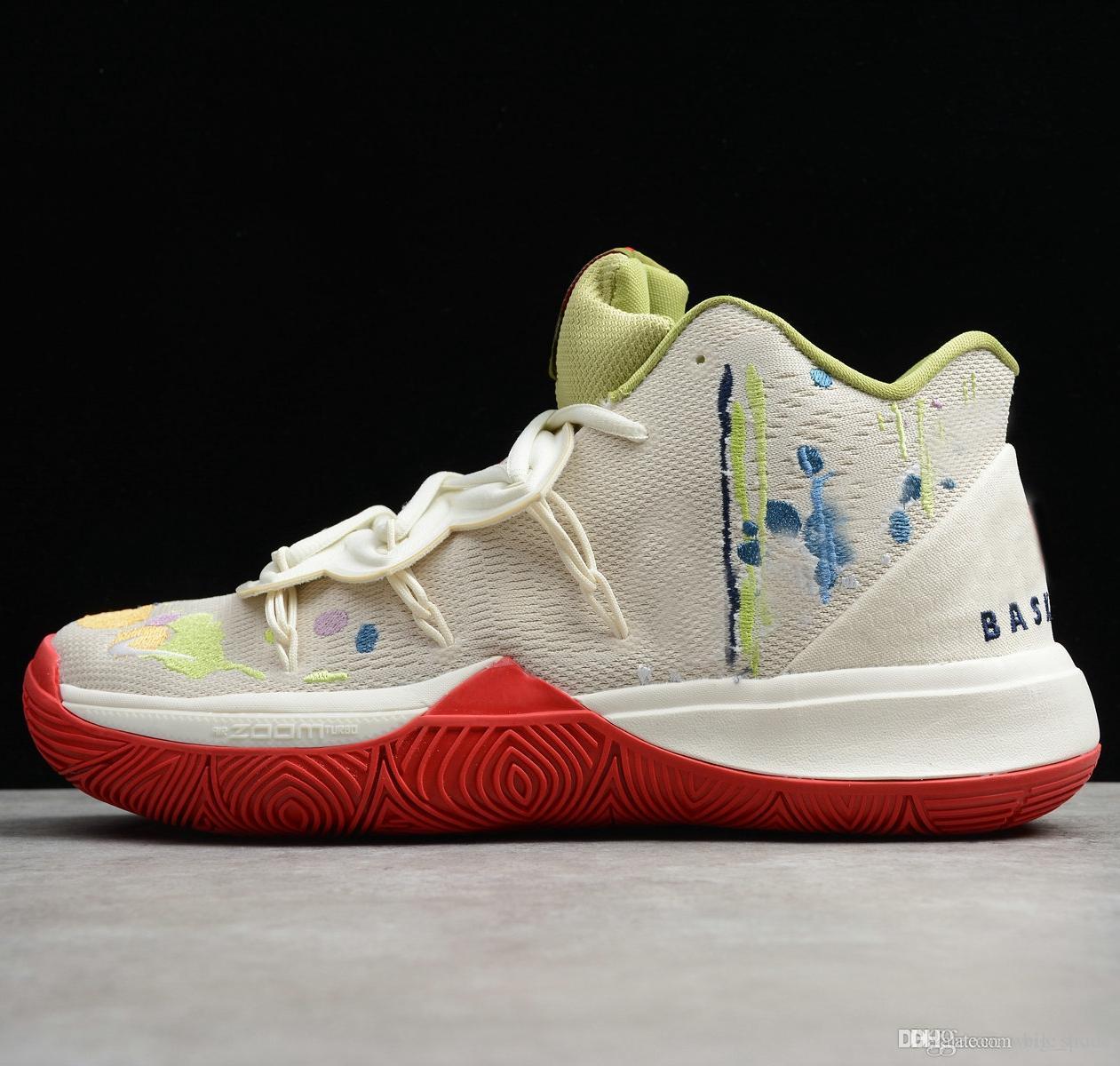 2019 de haute qualité Kyrie 5 V Hommes Basketball Chaussures Baskets Irving 5 s blanc orange noir paniers sport rouge Sneaker Zapatos des des Chaussures