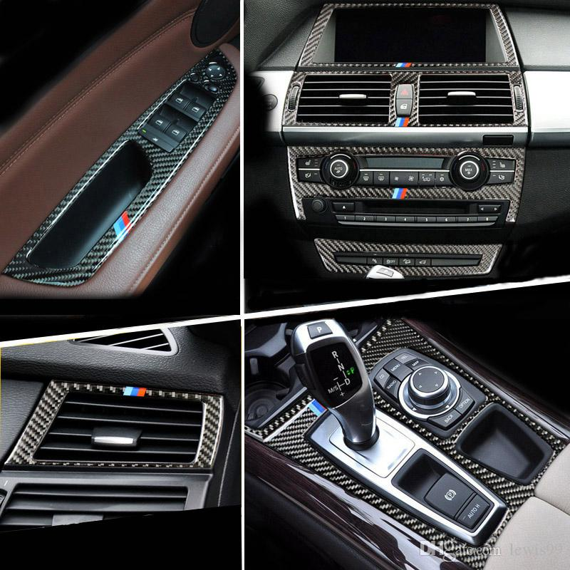 BMW E70 E71의 X5 X6의 실내 기어 시프트 에어컨 AC CD 패널 독서 라이트 커버 트림 스티커 액세서리 자동차 스타일링을 위해 탄소 섬유