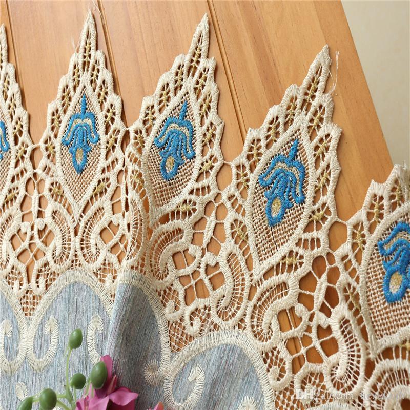 Europäische High-End-luxurygauze wasserlöslichen hohlen Stickerei Schlafzimmer Wohnzimmer benutzerdefinierte fertigen Vorhang Spitze