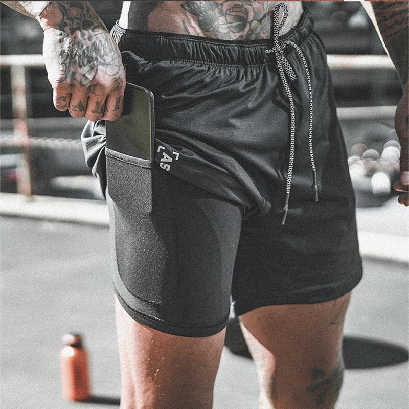 Yeni Varış 2019 Yaz Çift katlı Erkek Spor Vücut Geliştirme Nefes Hızlı Kuruyan Kısa Spor Salonları Erkekler Casual Joggers Şort Y19042604