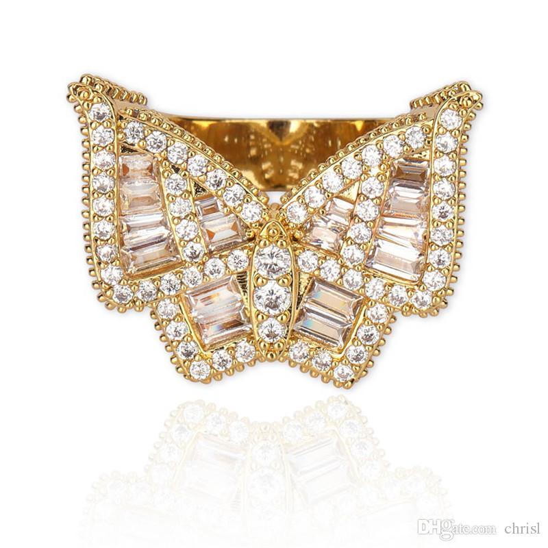 Hip Hop gefriert heraus Schmetterlings-Ring-Männer Gold-Silber überzogenen Micro Gepflasterte KubikZircon Ringe Modeschmucksache-Geschenk