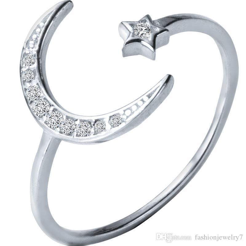 الحجم الجديدة عارضة الأزياء الأمريكية قابل للتعديل 925 الاسترليني خاتم فضة CZ القمر ونجمة المجوهرات للمرأة الإناث أنيقة