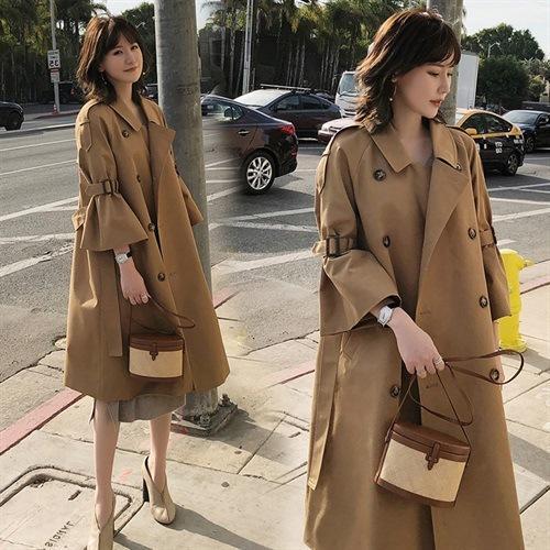 Spring and autumn style Khaki windbreaker women's medium long British style trumpet sleeve over Knee Skirt coat trend