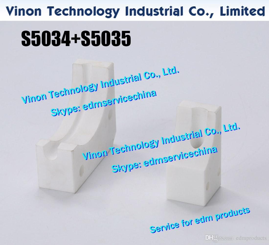 (2pc) S5034 Ceramic Pulley B Block+S5035 Pipe Holder Set 3051262,3051255 for Sodic A500.A500H wire cut edm machines Ceramic Pulley Base
