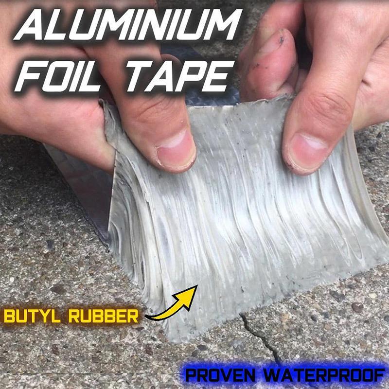 Newly Aluminum Foil Butyl Rubber Tape Self Adhesive Waterproof For Roof Pipe Marine Repair Q190605