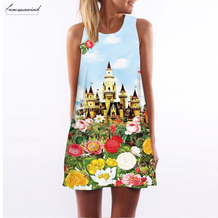 Above Knee Mini Dress Chiffon Style Short New Dress Sleeveless Summer Dress Casual Floral Print Women Dresses Vestidos Designer Clothes