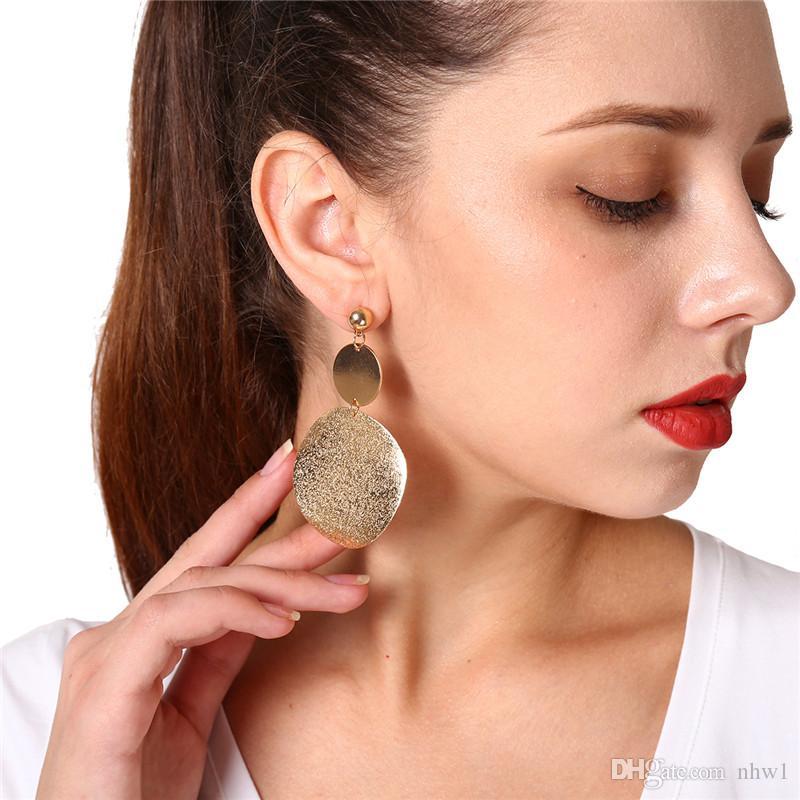 Европейская мода геометрические серьги падения для женщин Девушки ретро круглый уха шпильки партии юбилей ювелирные изделия аксессуары