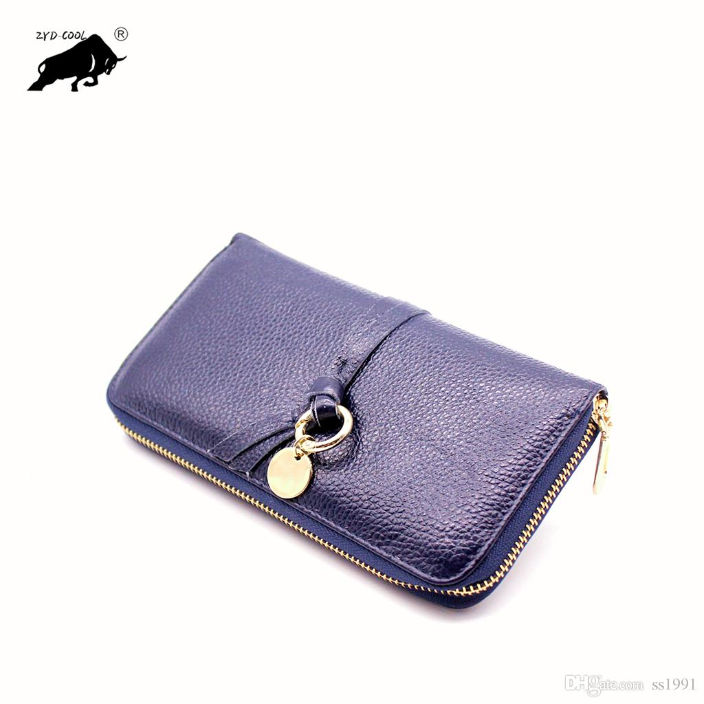 2019 classical women's leather men long wallet fashion holders business zipper credit card holders wallets purse