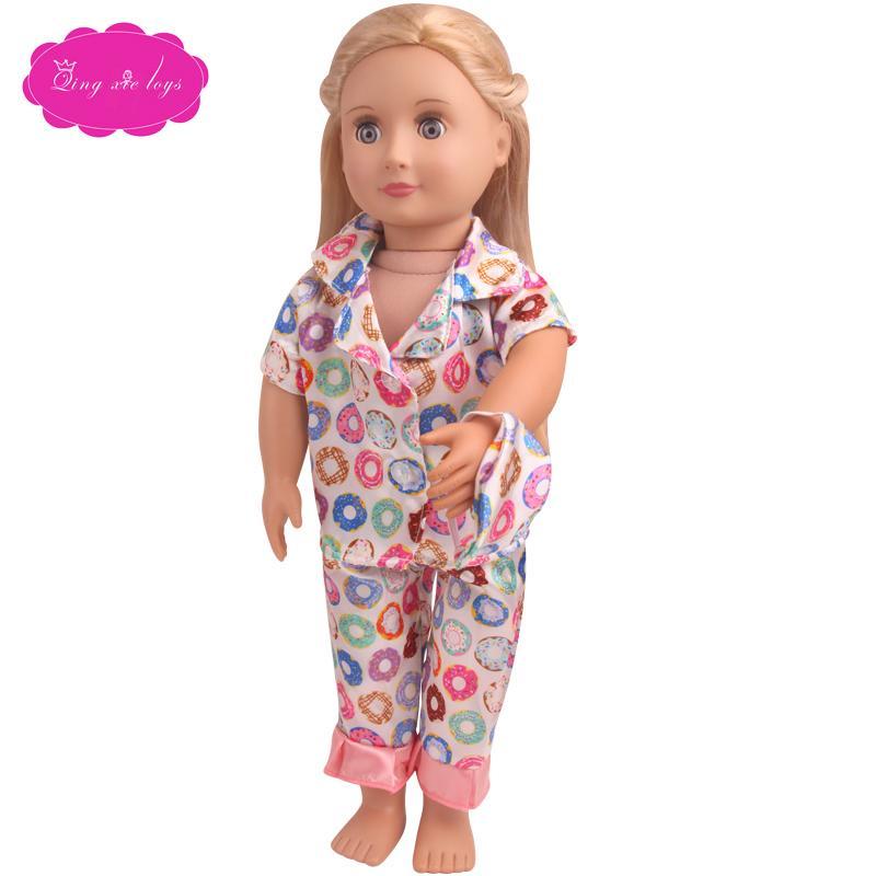 Los nuevos pijamas de tres piezas encajan en el círculo de 18 pulgadas traje de muñeca americana