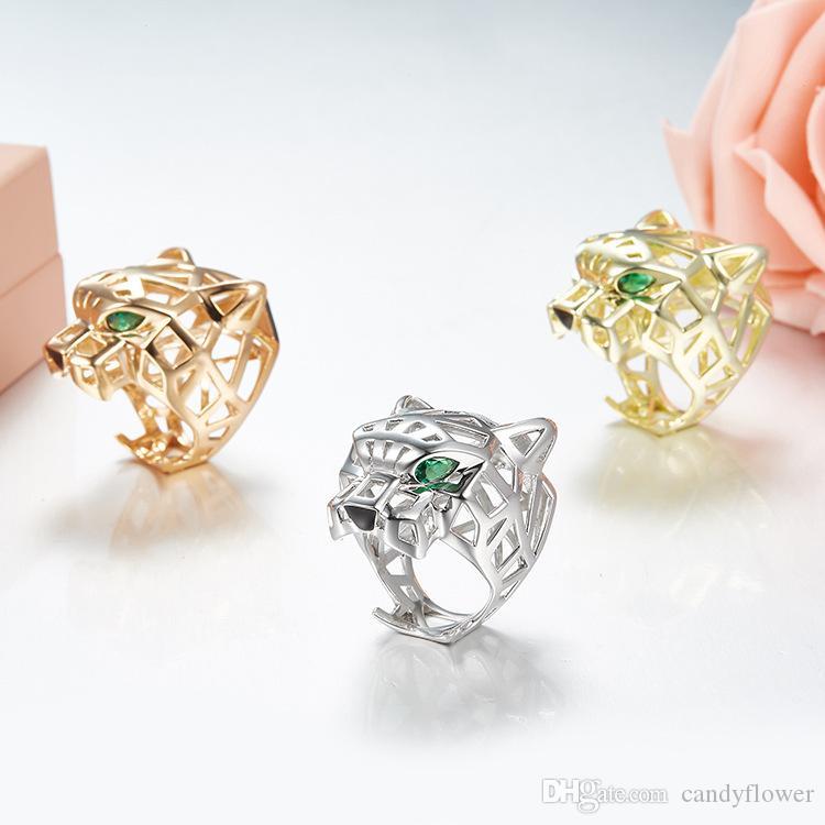 Alta qualidade 925 sterling silver escavar anel de leopardo animal 18 K banhado a ouro jóias para mulheres ou homens