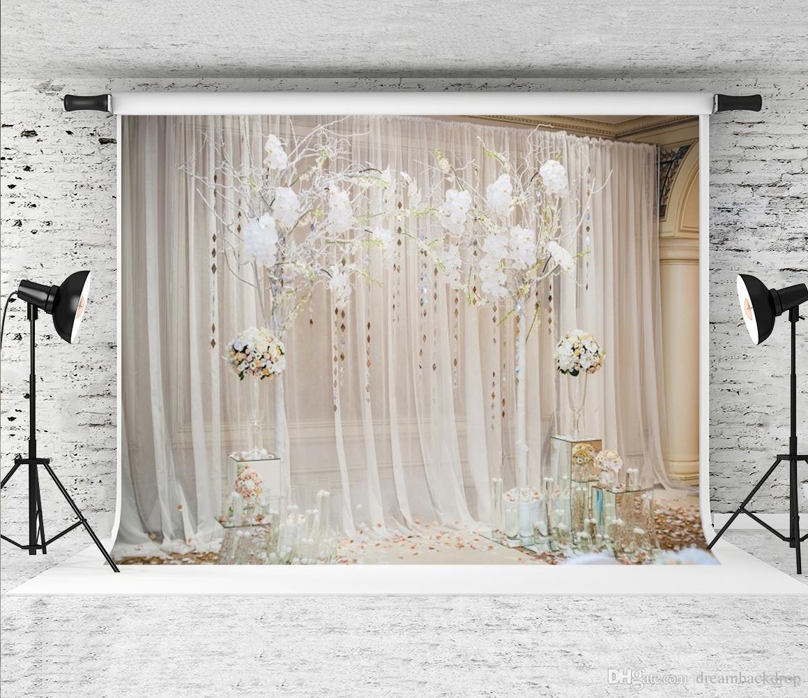 Rêve 7x5ft Blanc Floral Rideau Photographie De Mariage Toile de Fond Intérieur Cérémonie Fleur Décor Photo Fond pour Fête D'anniversaire Shoot Prop