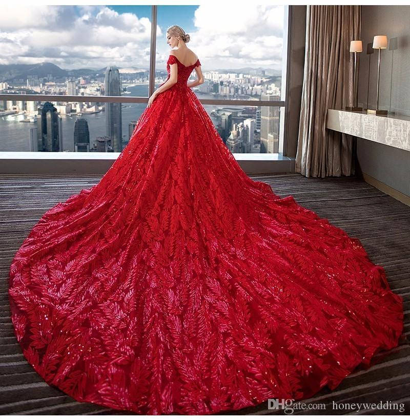 long red wedding dress