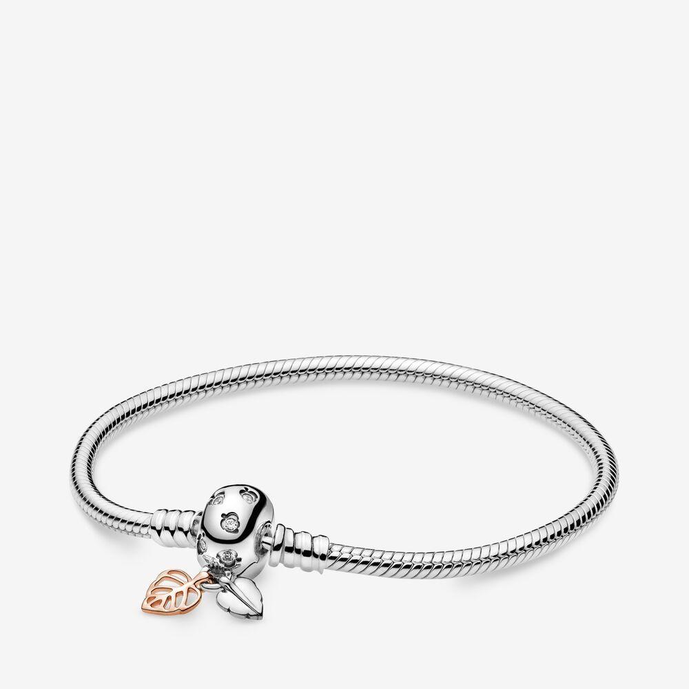 925 Sterlingsilber-Classic Snake Kette Moment Armband mit Blättern Haken Passend für europäische Pandora-Armbänder Charms und Beads