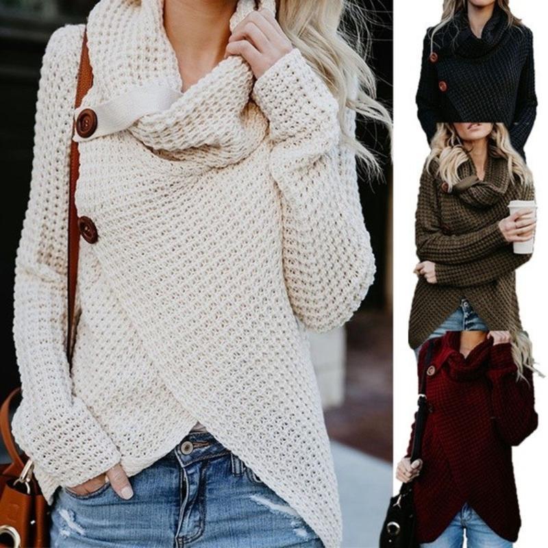 CIBO Autumn Winter Womens Fashion Knit Sweater Buttons Loose Cardigan Coat Ladies Warm High Collar Irregular Sweater 4 Colors