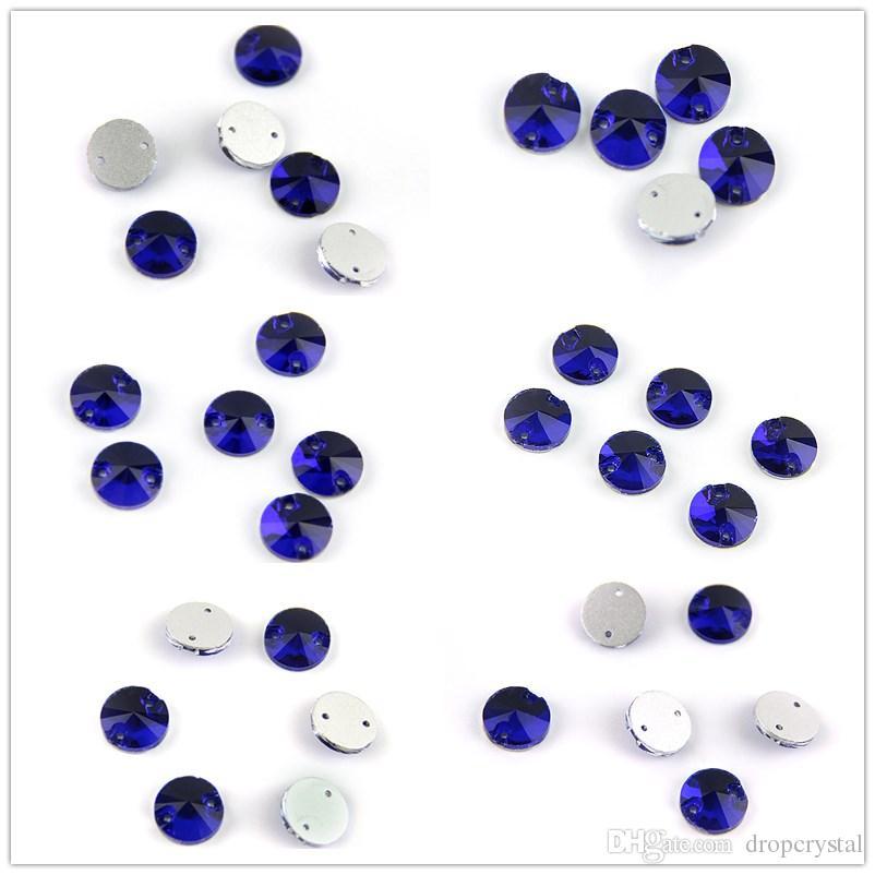 Various Sizes Sapphire Round And Rivoli Sew On Stone Rhinestone Sew On Rhinestone Glass Crystal Flatback For Sewing Strass Dress Clothing