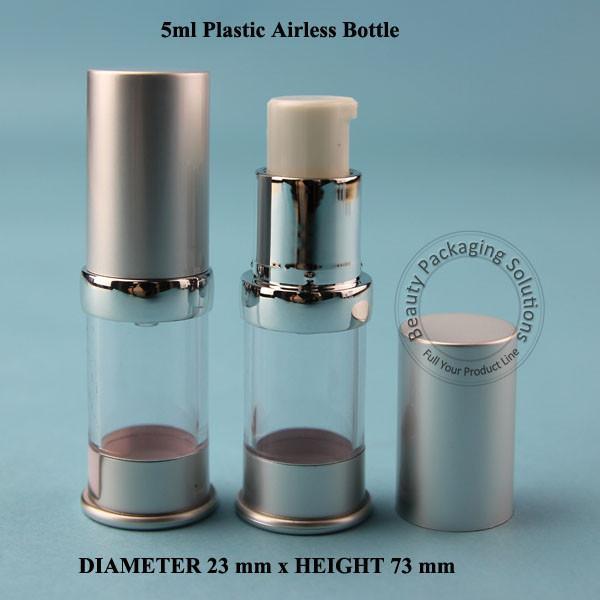 50 adet / LOT Toptan 1 / 6oz Kozmetik Konteyner Pot Ambalaj Plastik Havasız Losyon Pompası Kapak Vakum Mat Simli Cap boşaltın 5ml
