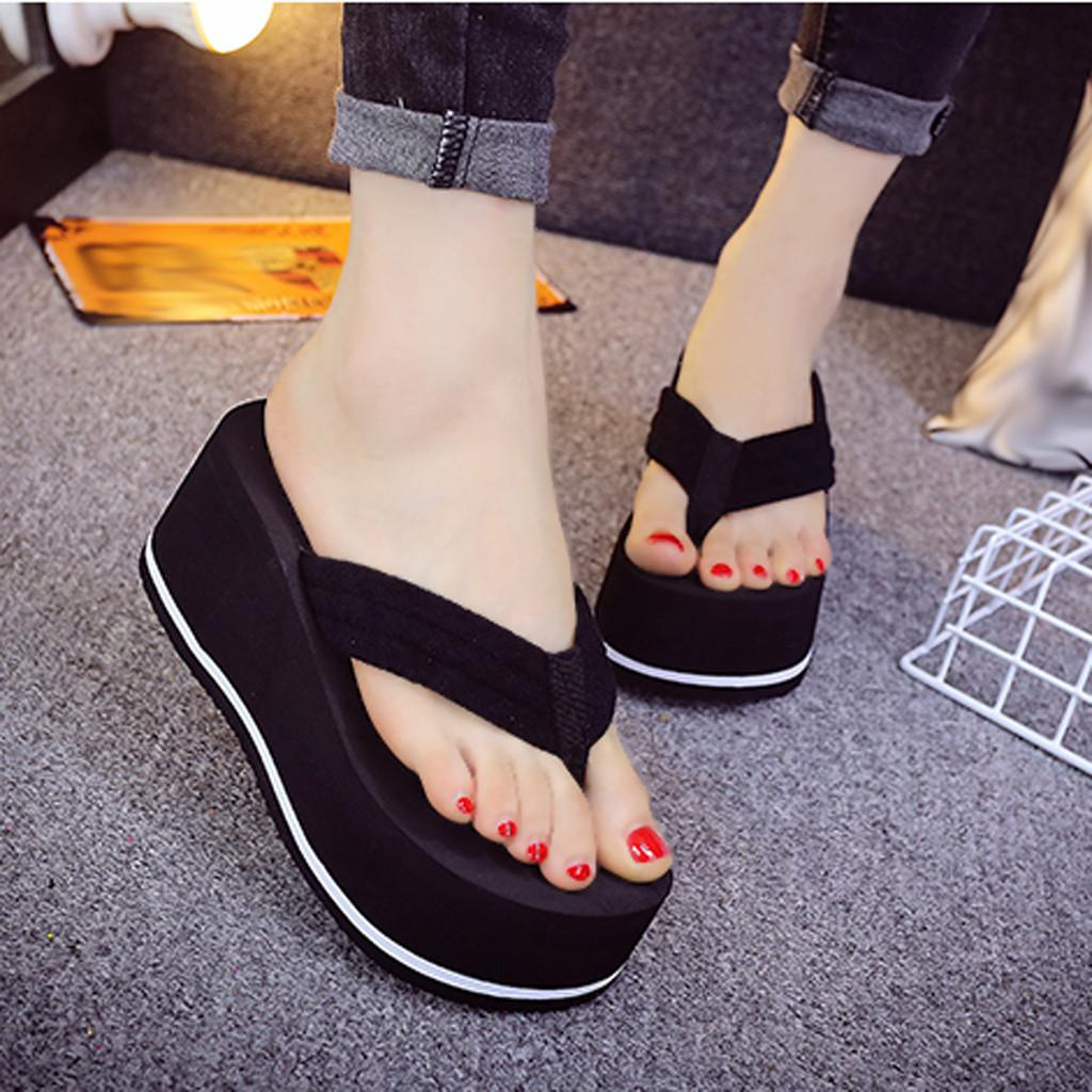 Summer Fashion Women's Slippers Sequins Anti-Slip Wedge Sandals Indoor Outdoor Thong Mid Heels Platform Slippers Flip-flops