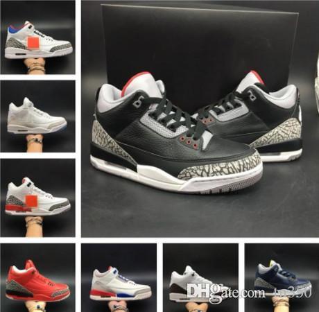 남성 신발 3 땜장이 JTH NRG 라인 블랙 화이트 시멘트 카트리나 엽록소 남성 스포츠 운동화 상자