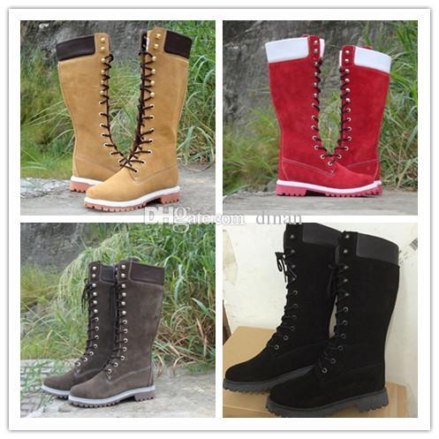 WomenThigh hohe Stiefel Winter Schnee Martin Stiefel aus Wildleder realen Pelz-Slides Leder wasserdicht Warm kniehohe Stiefel Marken-Art- und Luxuxentwerfer