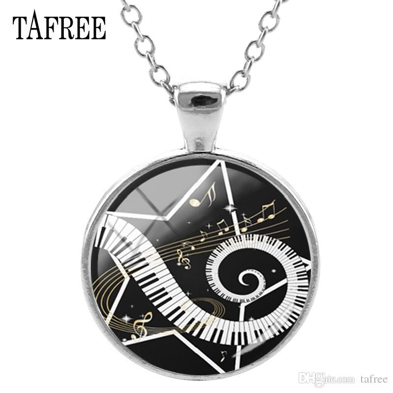 Music Piano Note Glass Cabochon Necklace Silver Alloy Chain Jewellery Men Women