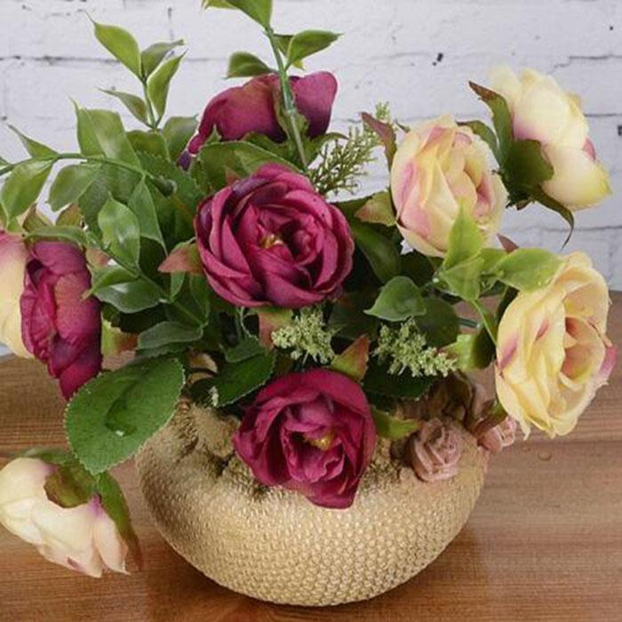 Nuevo diseño conjunto de flores artificiales rosas de seda en maceta bonsai artificial flor falsa fiesta de bodas en casa mesa de boda navidad halloween