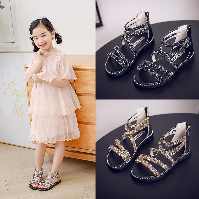 Sandals for Baby Girls Gladiator Style with Shine Glitter in Summer Walker Shoes for Children AntiSlip Sole Kids Toddler Trainer