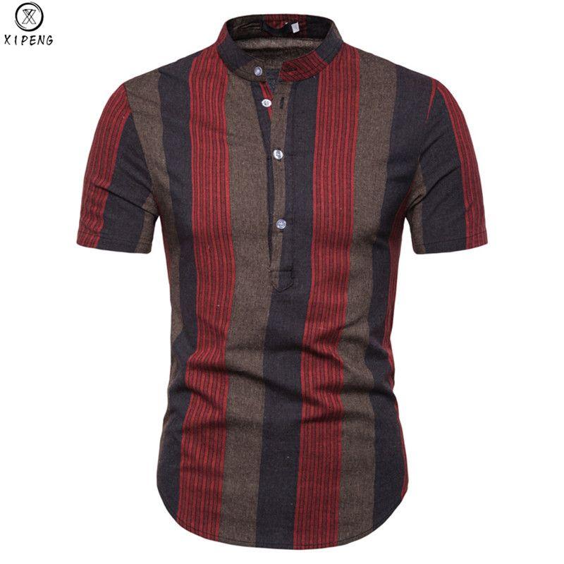 Striped Shirt Men 2019 New Summer Mandarin Collar Short Sleeve Mens Dress Shirts Casual Slim Fit Chemise Homme Camisa Masculina