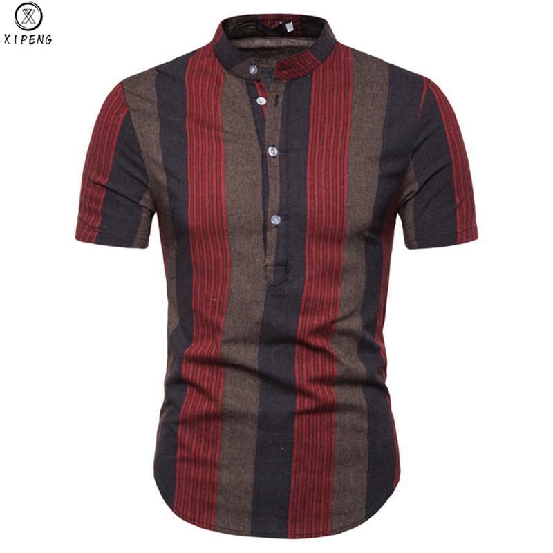 Camisa listrada Homens 2019 New Mandarin Verão Collar manga curta Mens Camisas de vestido Casual Slim Fit Chemise Homme Camisa Masculina
