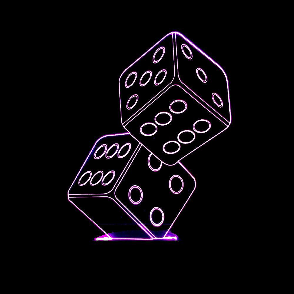Originalità Entrambi i Dadi 3D Vision Lampada tridimensionale Illusion Led Lampada colorata seconda luce. Piccola luce notturna a cambiamento graduale