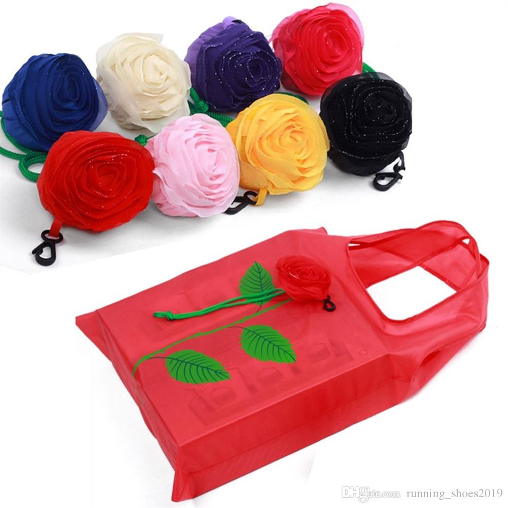 New Fashion Rose Flowers Reusable Foldable Bag Shopping Bag Travel Grocery Bags Tote Drop Shipping #31399