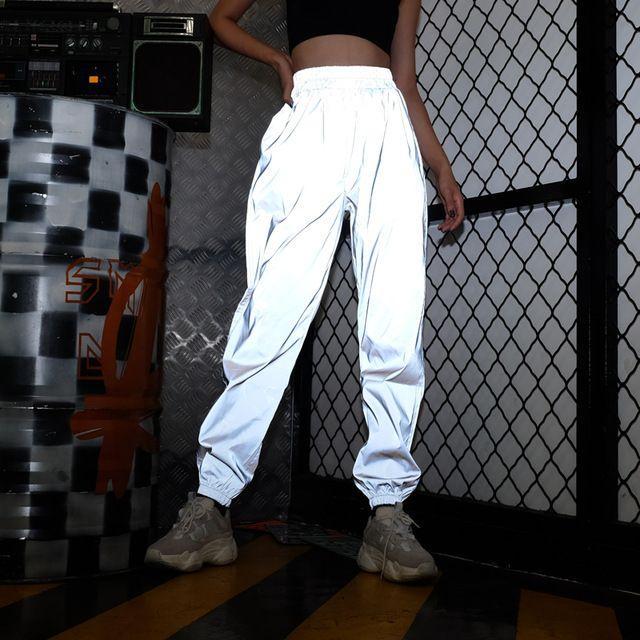 Las mujeres parpadean Sweatpant pantalones reflectantes Pantalones Joggers Hip Hop Show de danza partido de la noche del basculador holgados