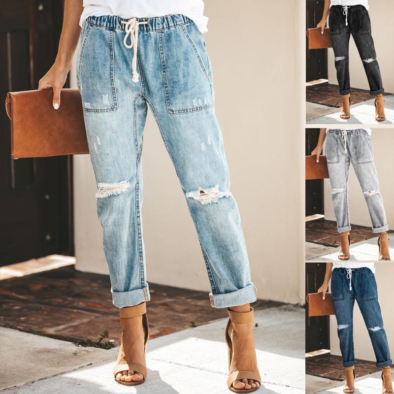 Amerika Birleşik Devletleri Güz Moda Eğlence Sokak Trendy Pamuk Düz Pantolon Bayan Kot