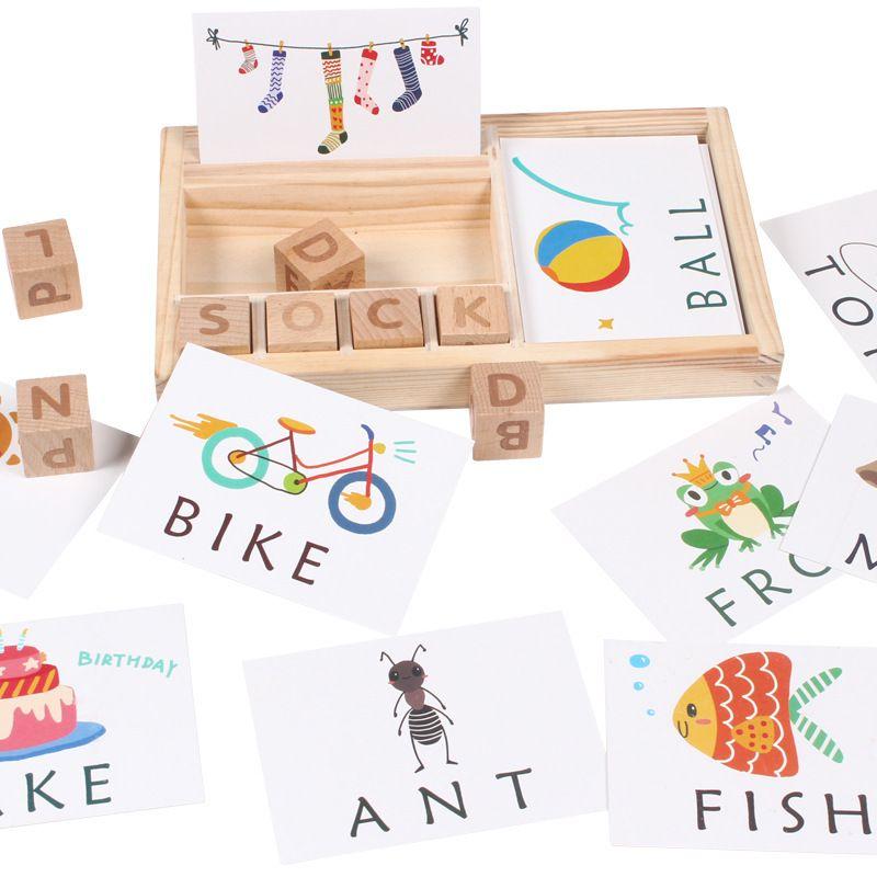 Candywood Madeira palavras de ortografia jogo de crianças primeiros brinquedos educativos para crianças de Aprendizagem Brinquedos de Madeira Montessori Educação Toy Y200414