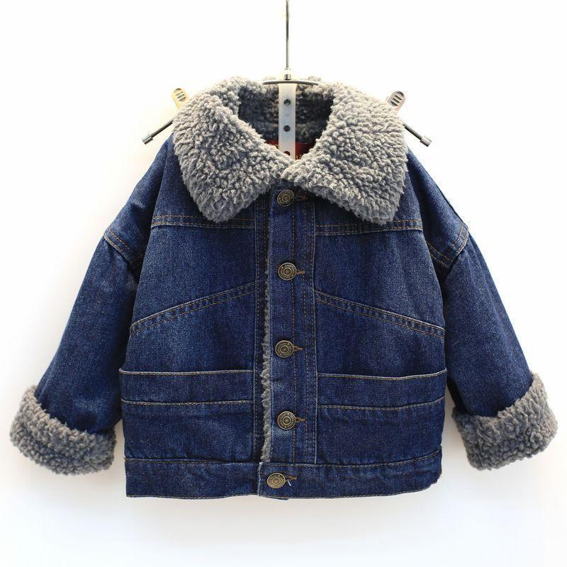 garçons denim hiver Veste Jeans Vestes plus épais velours denim manteau pour enfants filles Tactical chaud Jeans coupe-vent Manteaux