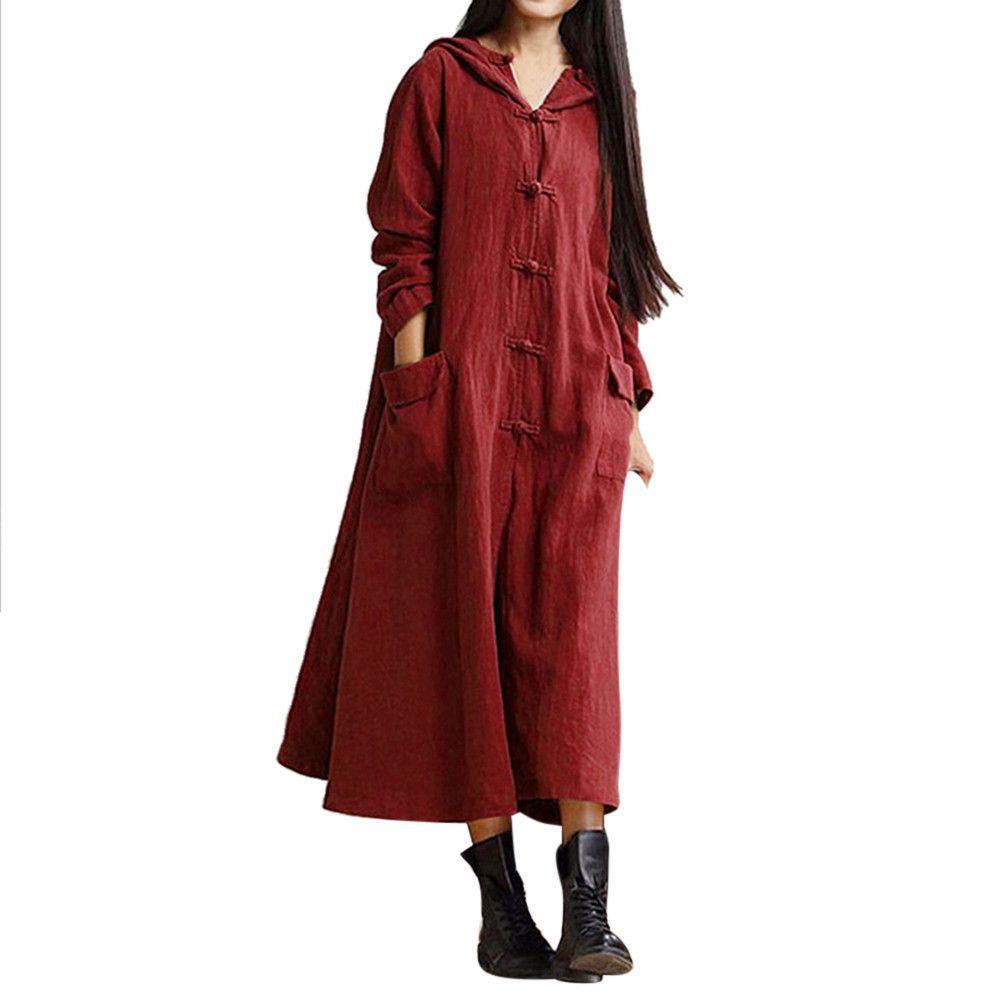 Зимнее платье с длинным рукавом с капюшоном для женщин Дамы Повседневное Свободное льняное платье с длинными рукавами в три цвета Высокое качество