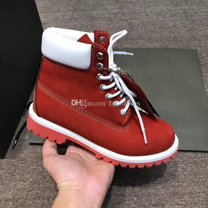 Luxe Martin Bottes en blanc rouge Femmes en cuir Chaussures Homme Chaussures Designer cheville botte courte mode Bottes hiver Chaussures