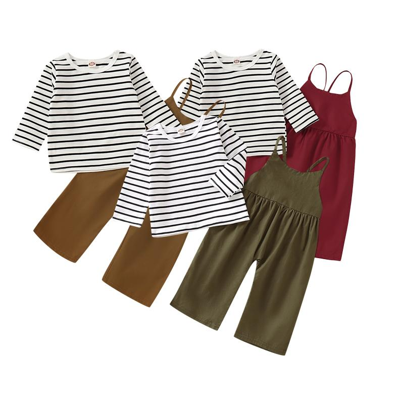 Mikrdoo Kids Baby Girl Fashion Hot Sale Striped Long Sleeve T-shirt Top + Suspender Pant 2PCS Overall Outfit