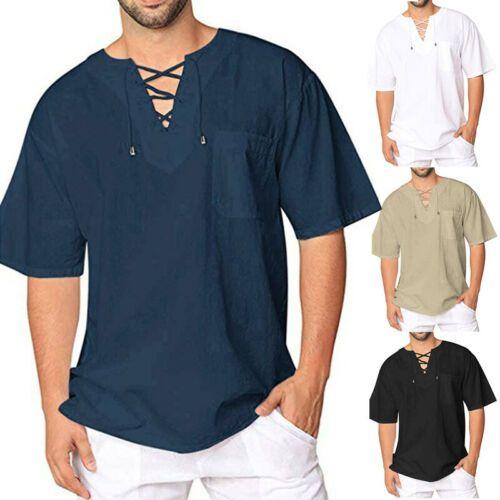 Les nouveaux hommes de Hippie Casual Cotton T-shirt chaud de vente col V à manches courtes Chemise unie 3E21