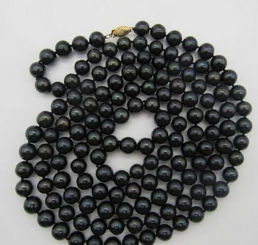 """très beau collier de perles noires des mers du Sud naturelles 9-10mm, 50 """"jaune"""