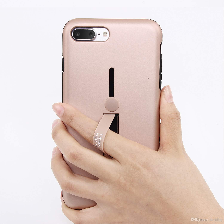 Coque IPhone 8 Plus Coque IPhone 7 Plus Avec Poignée Invisible Pour Anneau À Doigt Support De Support De Béquille Intégré Couverture Matte En PC Dur ...