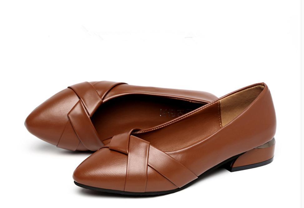 2020 весной и осенью с обувью Нового стиля моды Среднего каблуком Грубых пятками заостренного конца женщинами в @ MQWBH780