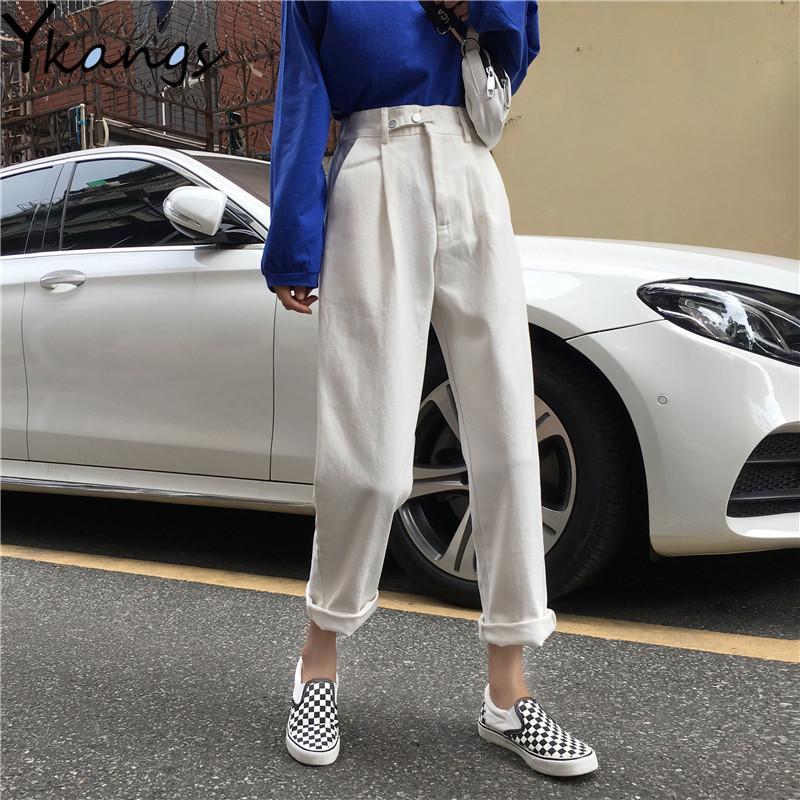 Femmes Harem Jeans Pantalons Mode taille haute en vrac White Denim Jeans Femme maman boutons noirs Pantalons Printemps 2020 Nouveau Streetwear